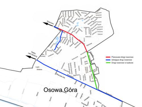 Mapa infrastruktury rowerowej na Osowej Górze